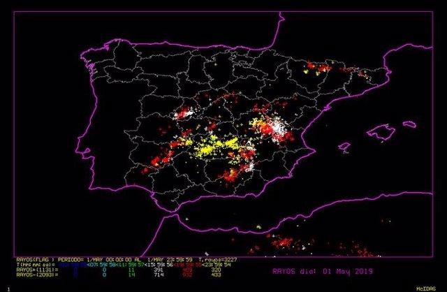 La Aemet computó 200 rayos entre las 14.00 y las 21.00 horas del miércoles en Castilla y León