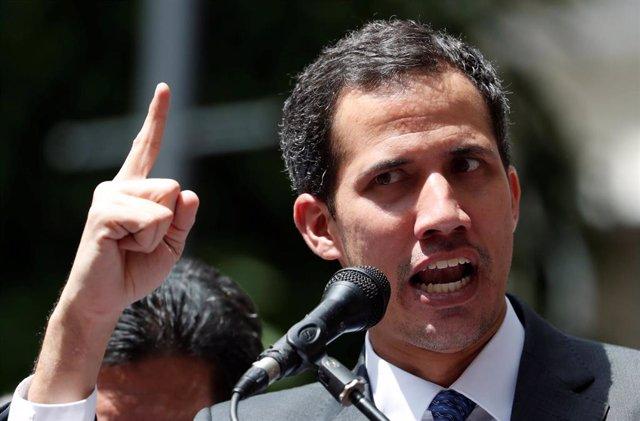 Juan Guaido durante un acto en Caracas