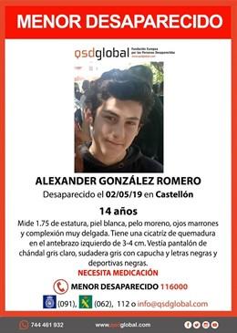 Sucesos.- Buscan a un chico de 14 años desaparecido en Castellón que precisa de medicación