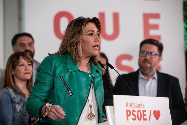 La secretaria general del PSOE-A, Susana Díaz, valora los resultados electorales