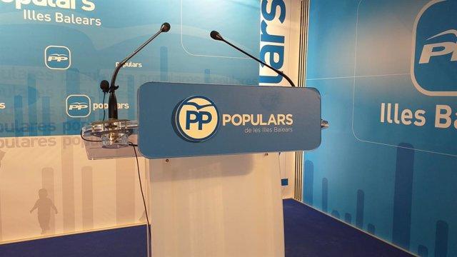 Sala de premsa del PP de Balears