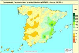Las lluvias de la semana pasada reducen la falta de precipitaciones acumulada hasta el 9%