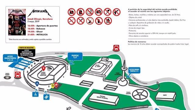 Metallica en Barcelona: Horarios, accesos, plano y recomendaciones