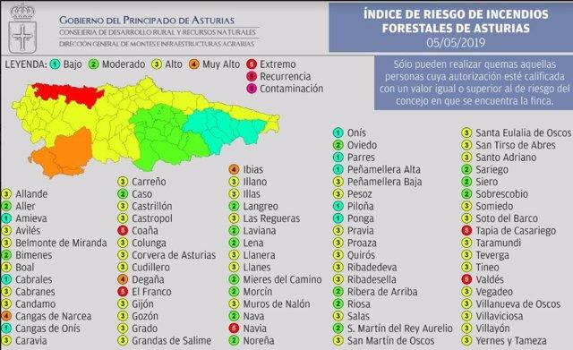 El riesgo de incendios forestales será 'extremo' este domingo en cinco municipios asturianos