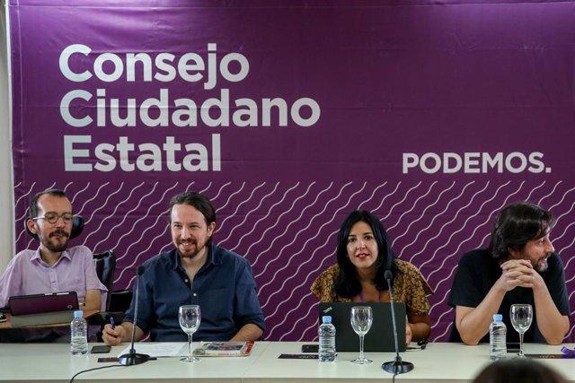 El secretario general de Podemos, Pablo Iglesias, participa en el Consejo Ciudadano Estatal de Podemos