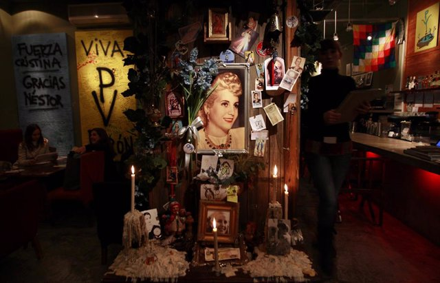 A shrine for Eva Peron, wife of former Argentine President Juan Peron, is seen a