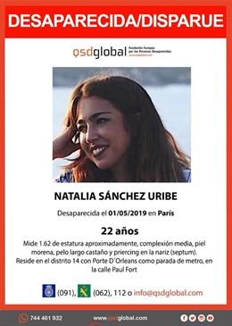 Granada.- Sucesos.- Buscan a una estudiante granadina desaparecida en París