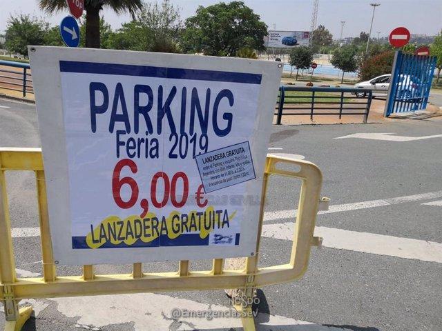 Sevilla.- Sucesos.- Clausuran un aparcamiento irregular habilitado para la Feria en el Parque Vega de Triana