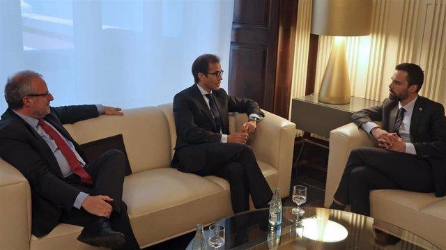 Fira.- El presidente del Parlament recibe al presidente y al director de Fira de Barcelona