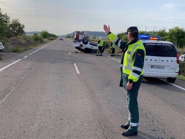 Sucesos.- Una persona herida tras volcar el vehículo en el que viajaba en Corella