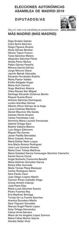 26M.- Los rostros de Carmena y Errejón aparecerán en la papeleta electoral igual que hizo Iglesias en las europeas