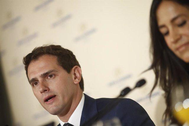 Desayuno informativo del Fórum Europa con la intervención de Albert Rivera y la candidata de Ciudadanos a la alcaldía de Madrid, Begoña Villacís