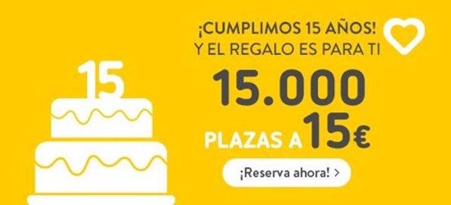 Vueling celebra su 15 aniversario y lanza 15.000 billetes a 15 euros