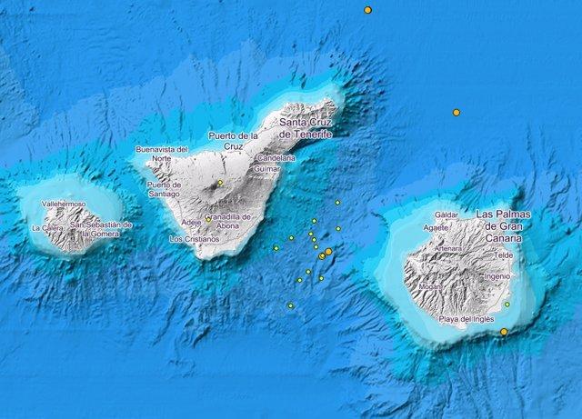 El Involcan registra un pequeño enjambre sísmico entre Tenerife y Gran Canaria