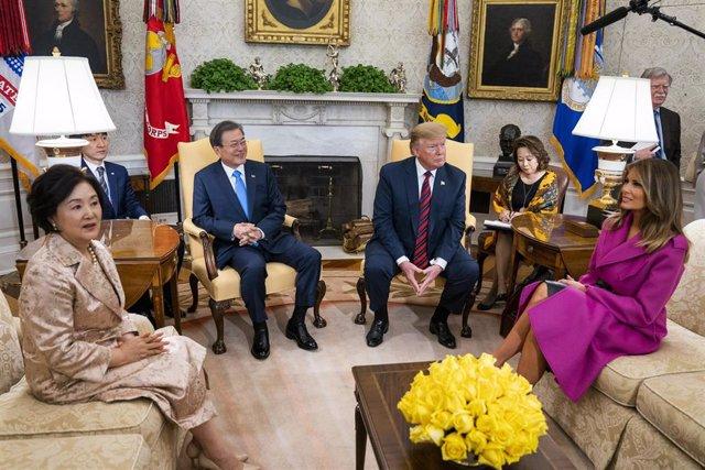 Trump meets Korean President Moon Jae-in