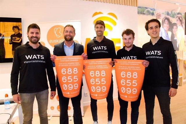 """++++WATS Team Y Euskaltel Presentan El """"Teléfono Contra La Violencia En El Deporte"""""""