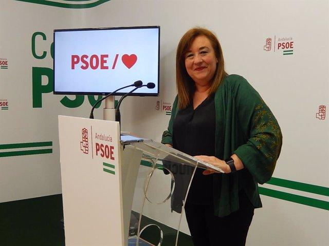 """Soledad Pérez avisa que el PSOE-A hará una """"oposición implacable"""" al Gobierno andaluz en materia de violencia de género"""