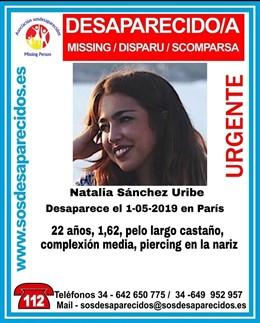 Granada.- La Policía gala investiga el entorno más próximo de la estudiante granadina desaparecida en París