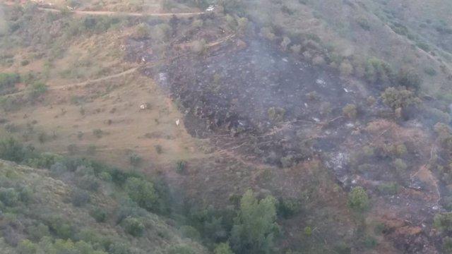 Málaga.- Sucesos.- Controlado el incendio en una zona agrícola de Guaro