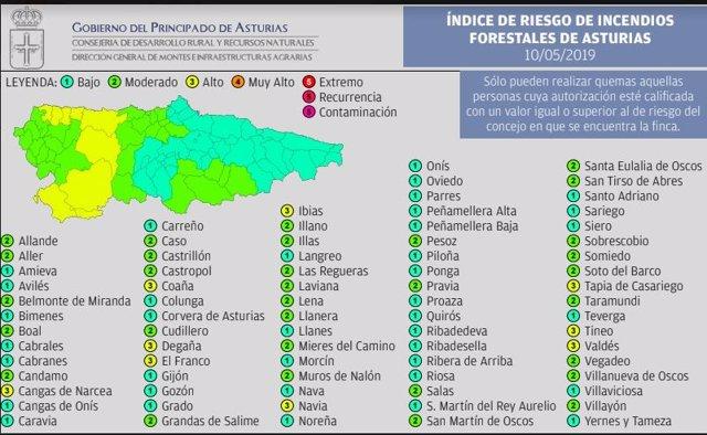 Nueve municipios tendrán este viernes riesgo 'alto' de incendios