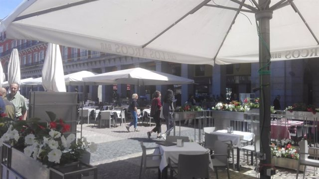 La Plaza Mayor estrena sus nuevas terrazas con mobiliario y rótulos homogéneos, vegetación y protección acústica