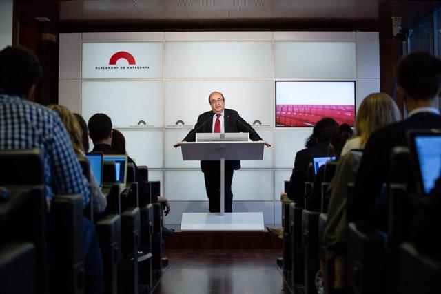 Miquel Iceta comparece en rueda de prensa en el Parlament de Cataluña tras ser propuesto como presidente del Senado