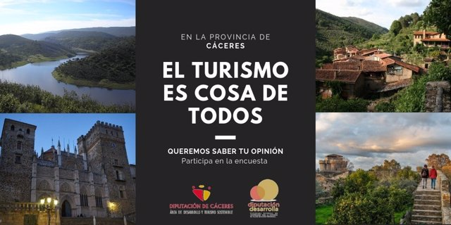 La Diputación de Cáceres lanza una encuesta para impulsar la participación ciudadana en el desarrollo turístico