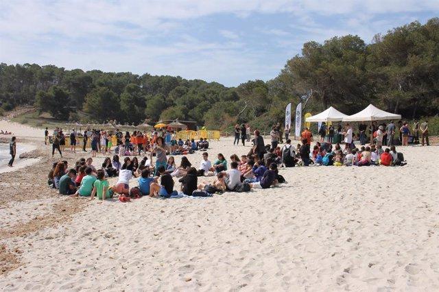 Dos-cents alumnes de secundària participen en un taller de solta de tortugues marines recuperades