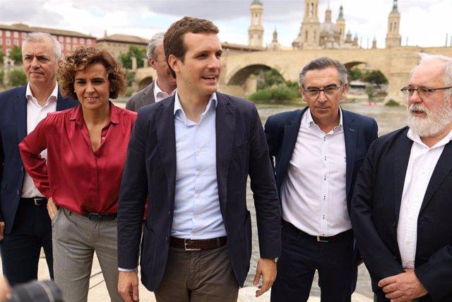 Pablo Casado presenta el programa electoral europeo del PP en el Balcón de San Lázaro de Zaragoza