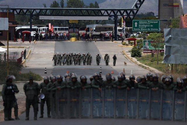 Frontera entre Brasil y Venezuela con efectivos de la Guardia Nacional Bolivaria