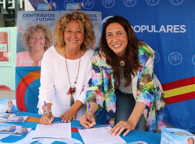 """Huelva.- 26M.- Pilar Marín y Loles López firman un """"contrato con los onubenses"""" para """"reiniciar Huelva"""""""