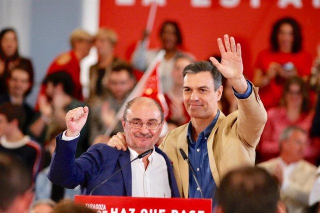 Mitin del PSOE-Aragón con la intervención del Presidente del Gobierno, Pedro Sánchez