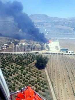 Málaga.- Sucesos.- Estabilizado el incendio forestal declarado en Cártama