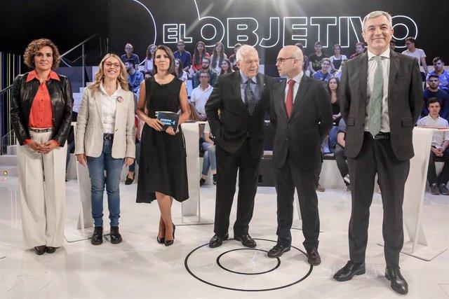 Borell (PSOE), Montserrat (PP), Garicano (Cs), Palop (UP), y Buxadé (VOX) participan en el debate de LaSexta en Madrid