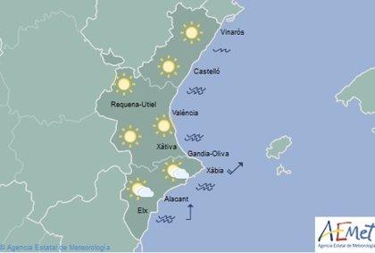 La semana comienza con cielos despejados y máximas de 26º en la Comunitat Valenciana
