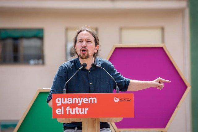 Acte de campanya de Comú Podem en la Plaza Ángel Pestanya a Barcelona