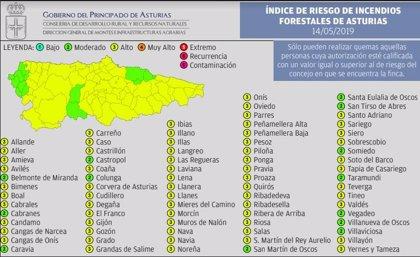 La mayor parte del Principado permanecerá este martes en riesgo 'alto' de incendio forestal, según el Indurot