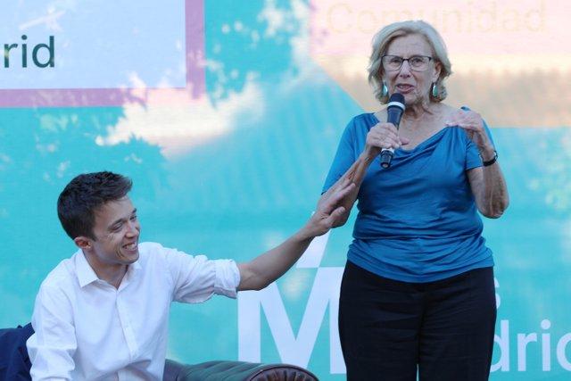 Carmena y Errejón en un acto de Más Madrid