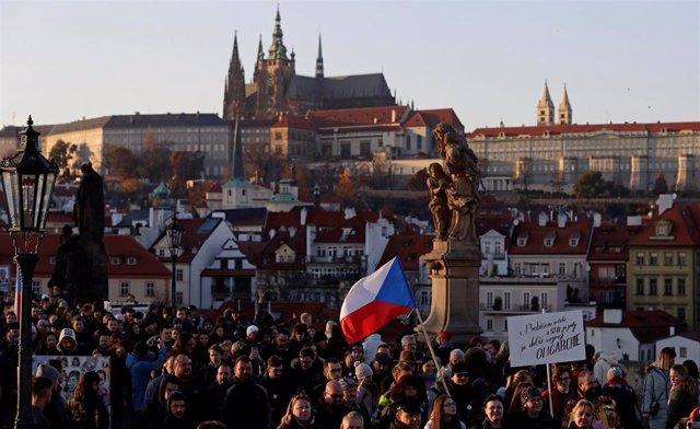 Manifestación en Praga contra Babis