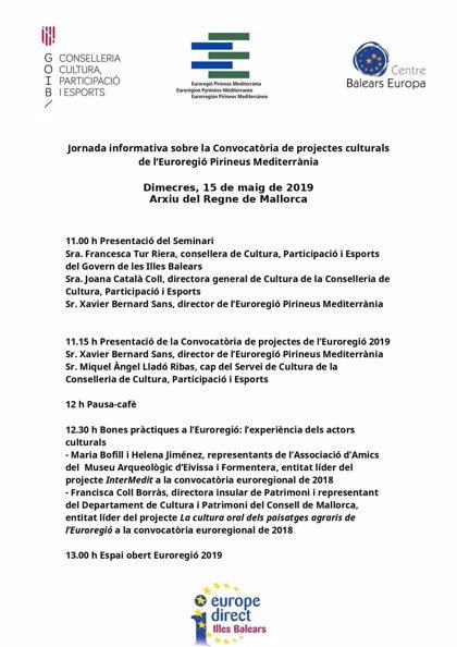 Organizan este miércoles una jornada sobre proyectos culturales de la Eurorregión Pirineos Mediterráneo