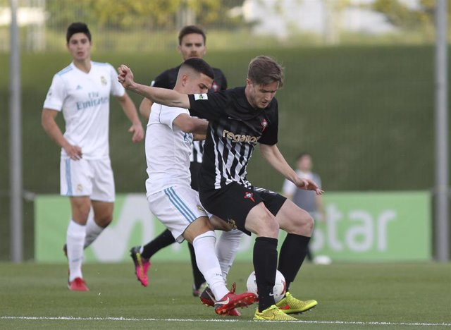 Real Madrid Castillas player  Tejero during 2a Division B group 1 match between Real Madrid Castilla and Racing de Ferrol at the Alfredo di Estefano stadium in Madrid, Saturday, May 05th 2018.