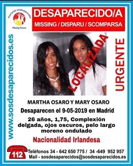 Successos.- Troben traumatizada a una jove irlandesa desapareguda a Madrid i cerquen la seva germana bessona