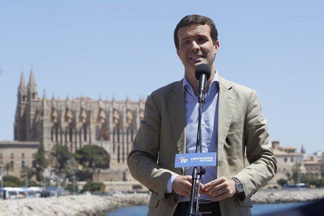 Pablo Casado interviene en un acto del PP en Palma de Mallorca