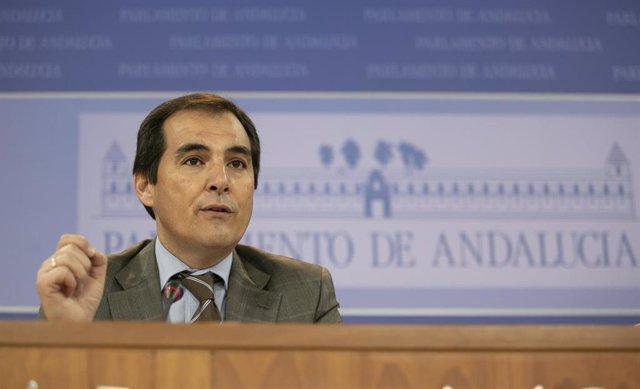Rueda de prensa del portavoz parlamentario del PP-A, José Antonio Nieto