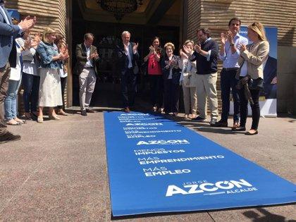 """Azcón (PP) quiere que Zaragoza sea referente en rebaja fiscal y pondrá """"alfombra azul"""" a emprendedores"""