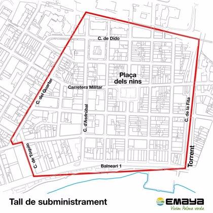 Emaya informa de cortes de suministro de agua en la zona del Arenal este jueves y viernes