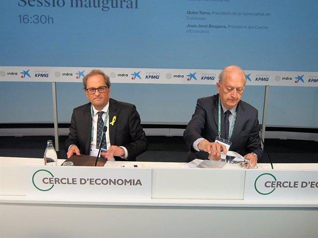 Quim Torra (president Generalitat) Juan José Brugera (Cercle d'Economia)