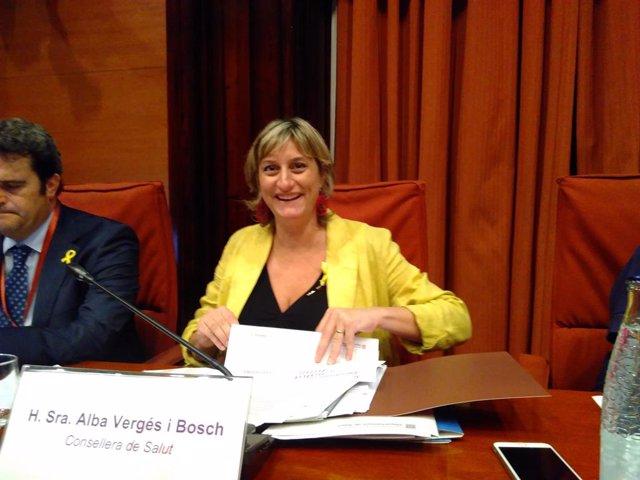 La consellera Alba Vergés en comisión parlamentaria