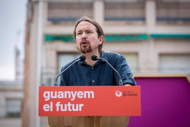 Acto de campaña de Comú Podem en la Plaza Ángel Pestanya en Barcelona