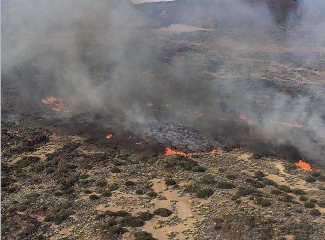 Incendio.- La UME se retira del incendio declarado en el Parque Nacional del Teide